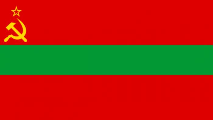 Drapeau de Transnistrie avec les emblèmes du communisme
