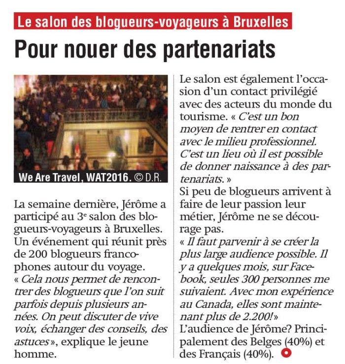 """Le salon des blogueurs voyageurs dans """"La Nouvelle Gazette"""""""