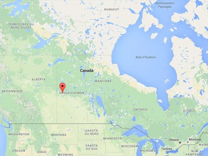 Meadow Lake sur une carte du Canada