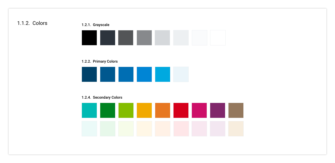 Example of color usage guide for a design system.