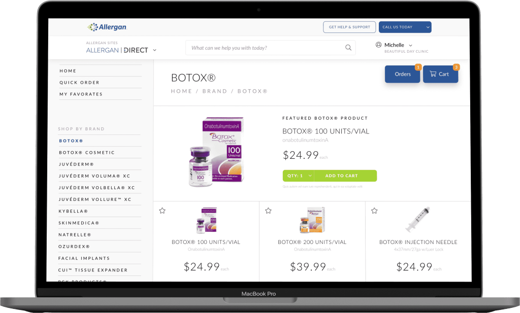 Example of an eCommerce experience for Pharma customers.