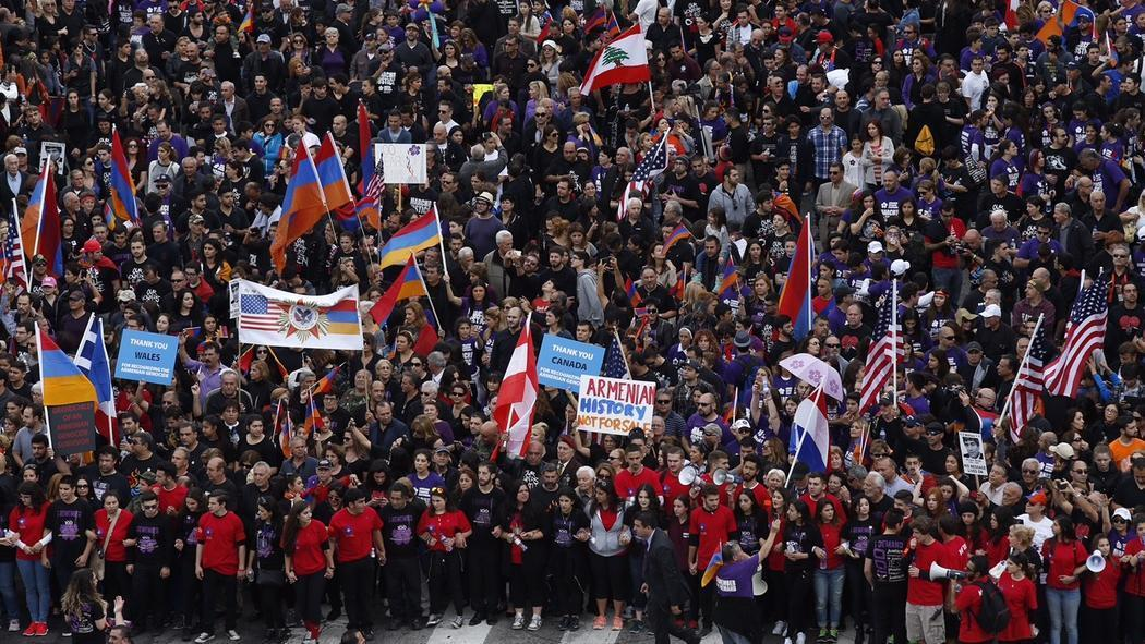 Armenian Genocide Massive March Ends At Turkish Consulate