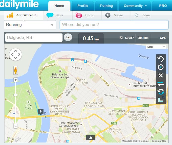 mapa prati ulice, a može ida mapira i mimo njih - sjajno za trail!