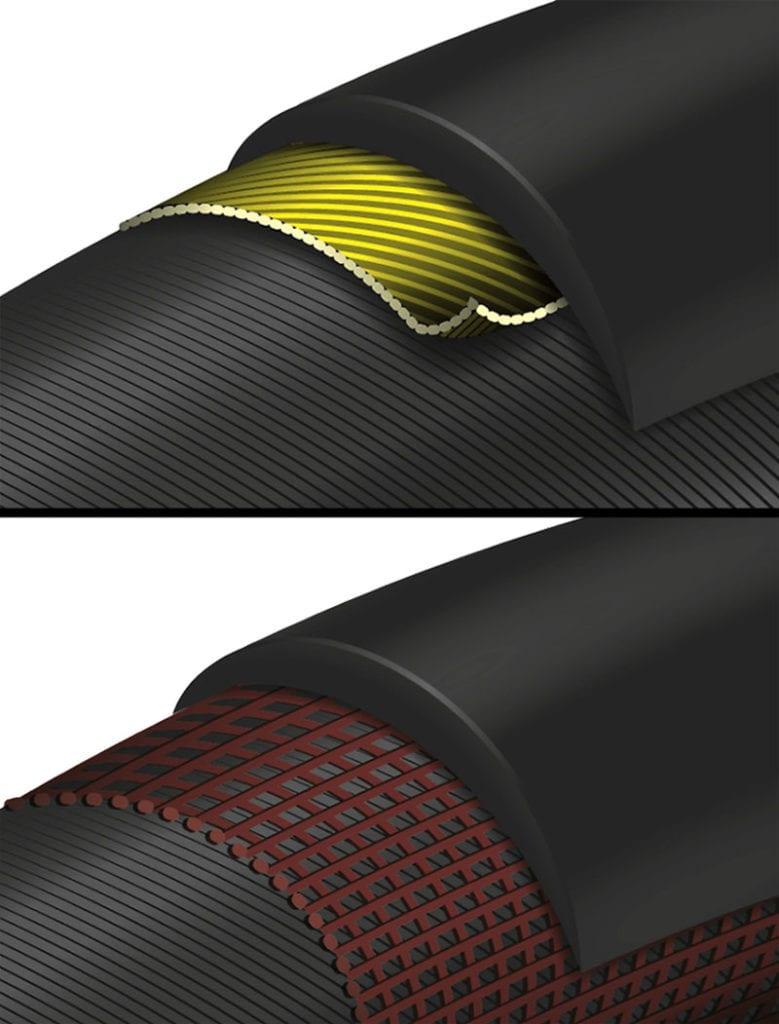 top image Continental Double Vectran Breaker cutaway, bottom image Continental DuraSkin cutaway