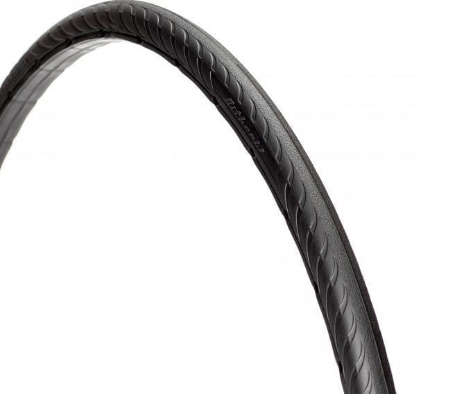 45-degree angle black Tannus New Slick foam airless tire attached to rim