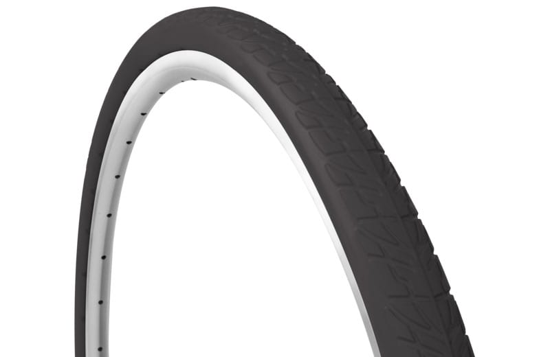 45-degree angle black Tannus Shield foam airless tire attached to rim showing knobby tread pattern