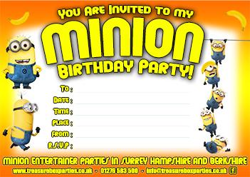 free printable minions birthday party