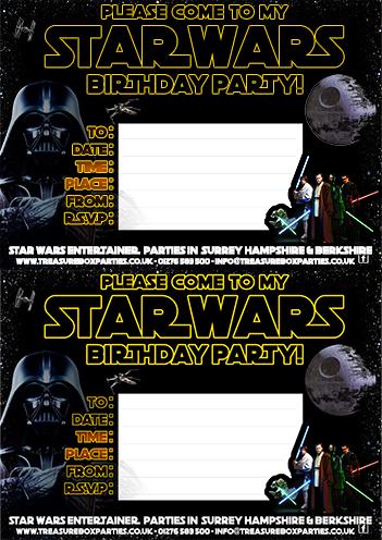 A Free Printable Star Wars Birthday Invitation Sheet Childrens Entertainer Parties Surrey Berkshire Hampshire Treasure Box Parties Supplies Kids Party Games Ideas