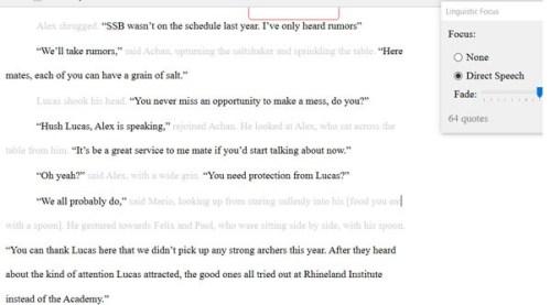 Scrivener 3 dialogue focus