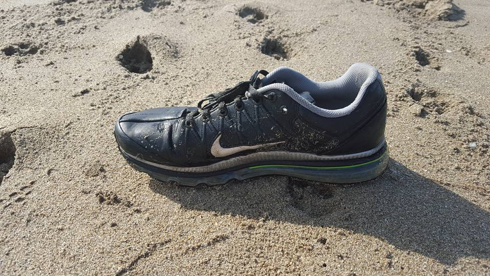 """Shoe Found by local veterinarian, Cristina Maldonado. She said """" I believe this was one of their shoes. I found this north of Virginia forest beach. Exact match north of Stuart beach. Brand new, no wear and tear."""""""