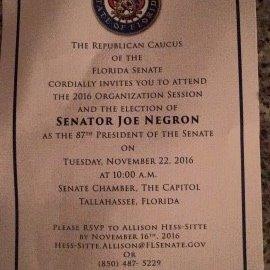 Senator Joe Negron being sworn in as President of the Senate