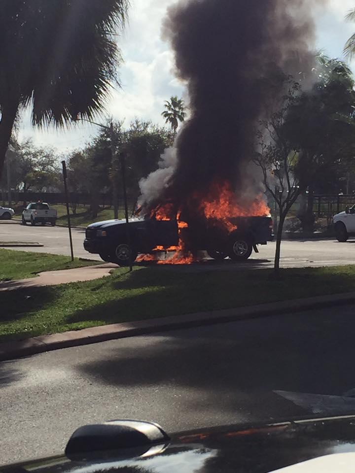 Ford Ranger engulfed in flames at Flagler Park