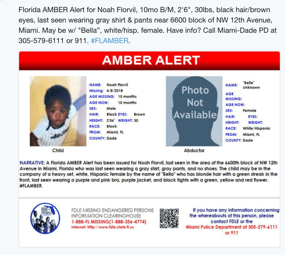 Florida Amber Alert: 10 month black male from Miami