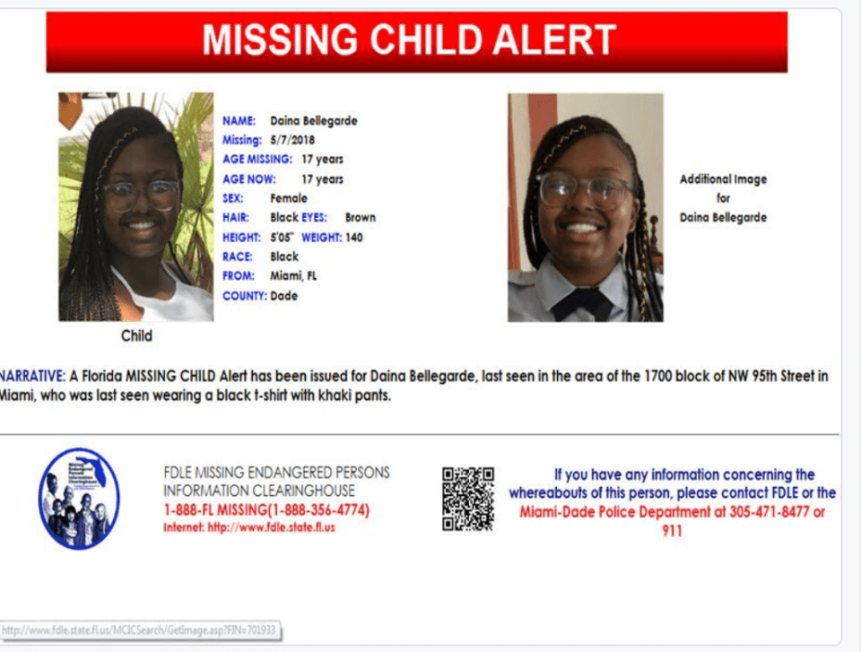 FL MISSING CHILD Alert 17 yo black female Miami