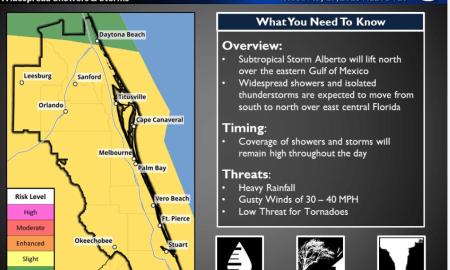 Subtropical Storm Alberto slightly stronger, moving faster