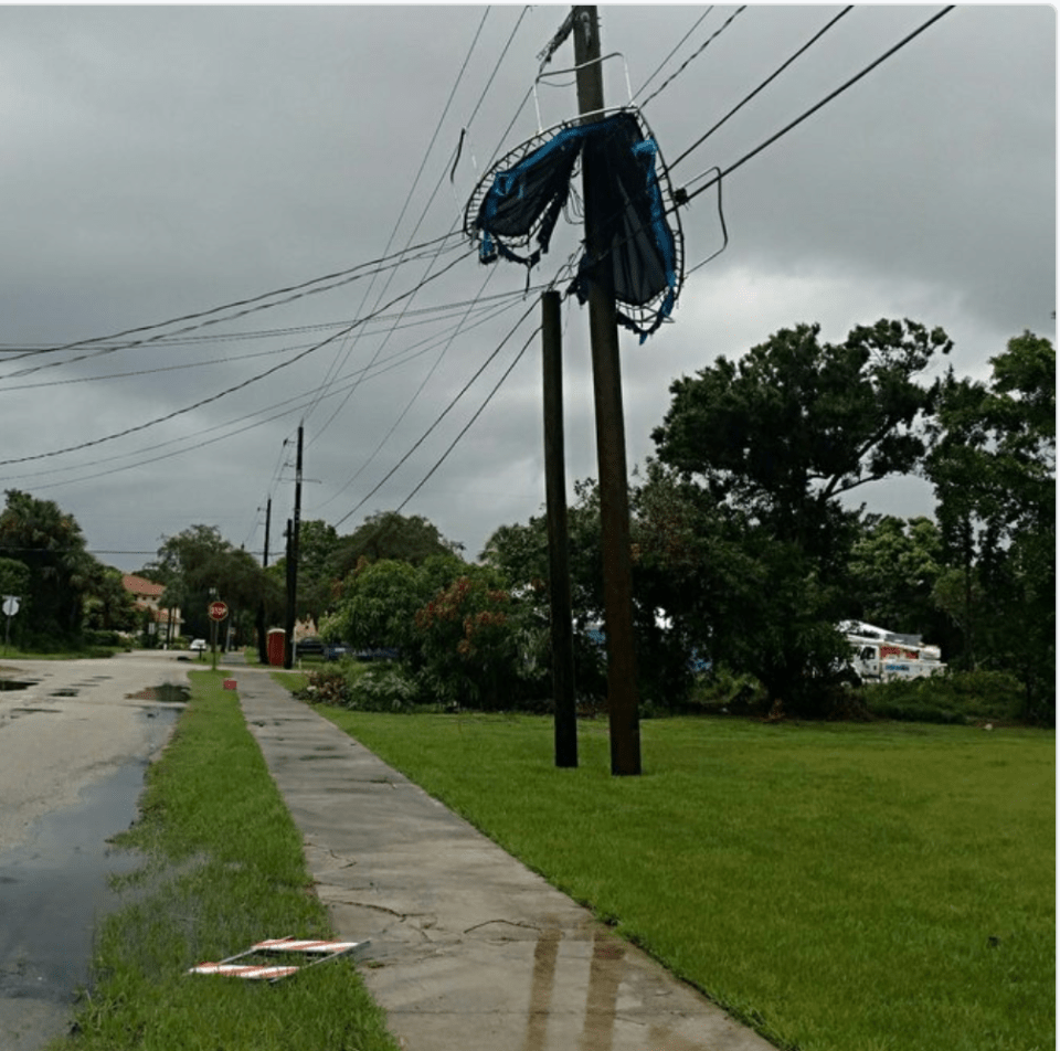 Trampoline blew into power lines in Stuart during storm