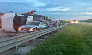 Early morning rollover on turnpike sends 4 to hospital