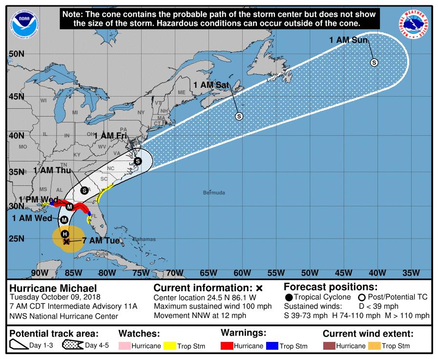 Hurricane Michael now a Cat 2 hurricane