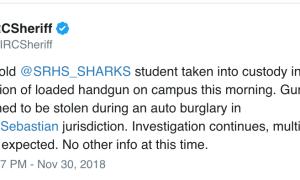 Teen found with loaded gun at Sebastian River High School