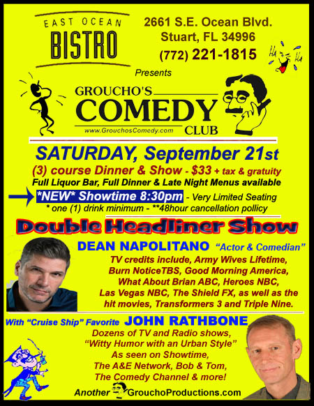 ***Double Headliner*** DEAN NAPOLITANO -Actor and Comedian & JOHN RATHBONE- Cruise Ship Favorite