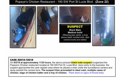 PSL Police seeking help identifying Popeye's Chicken burglary suspect