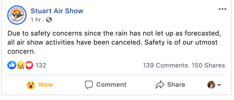 Sunday Nov 3: Stuart Air Show cancelled due to bad weather