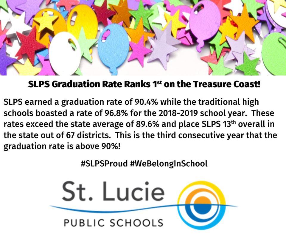 St Lucie Public Schools Graduation Rate Ranks 1st on the Treasure Coast