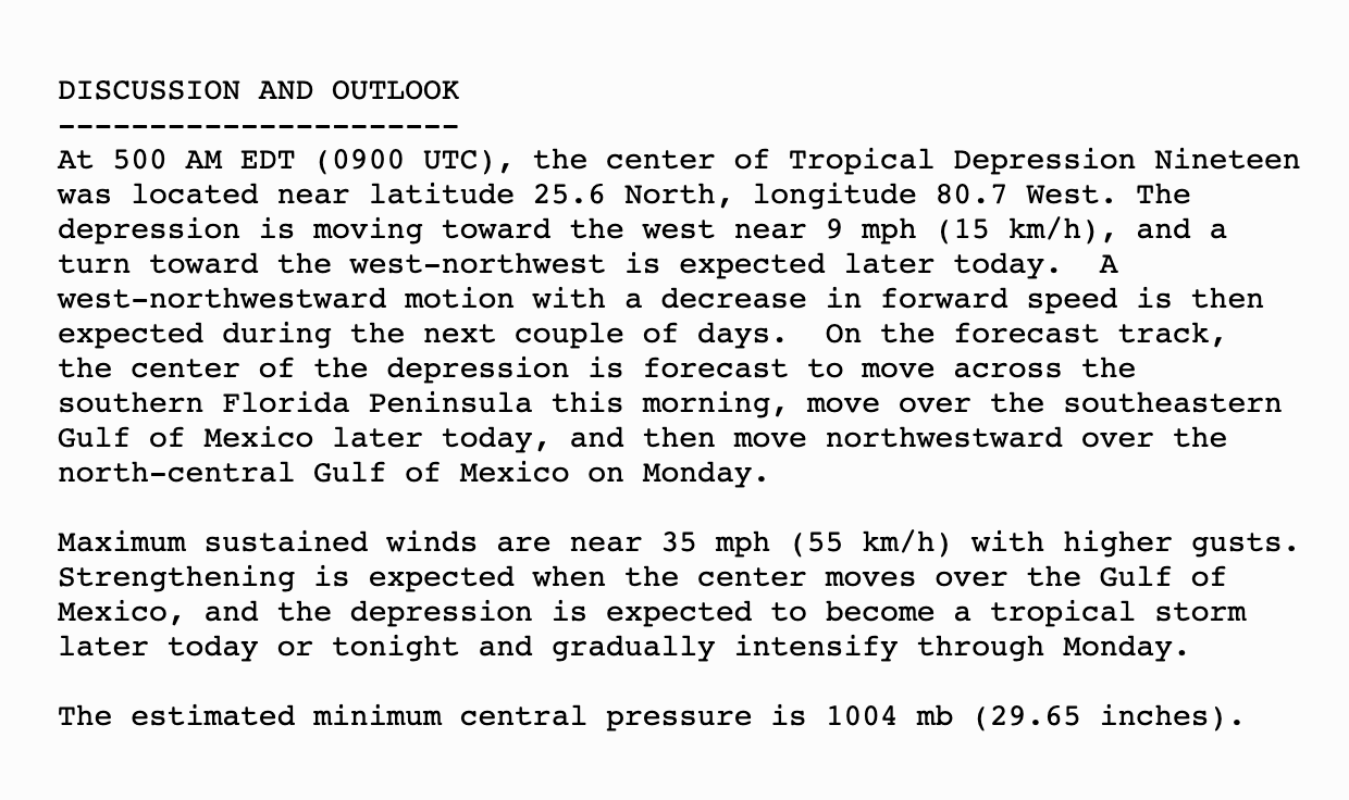 Tropical Depression 19