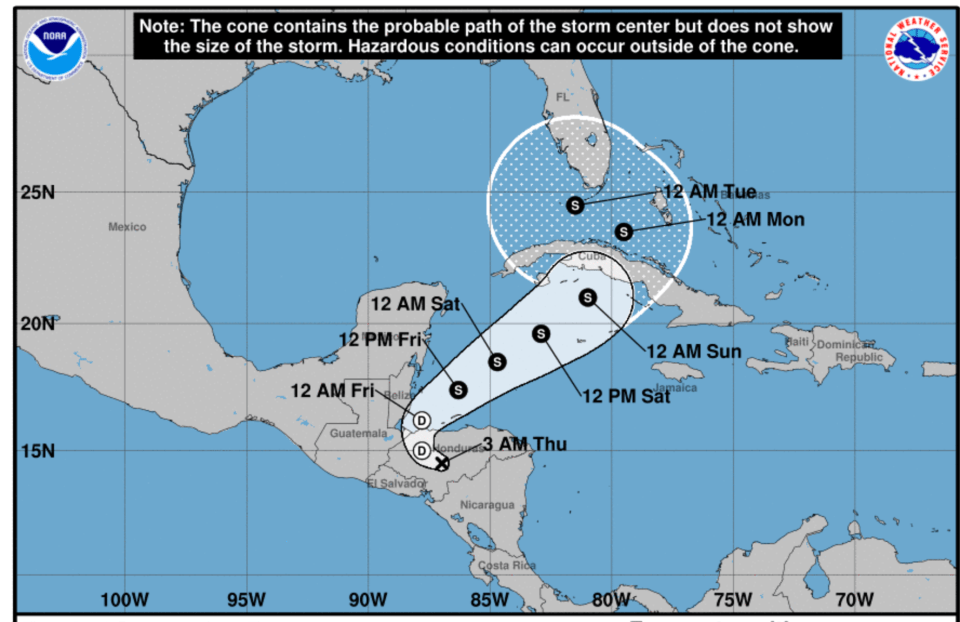 Eta, now a tropical depression, forecast to intensify with Florida in its path