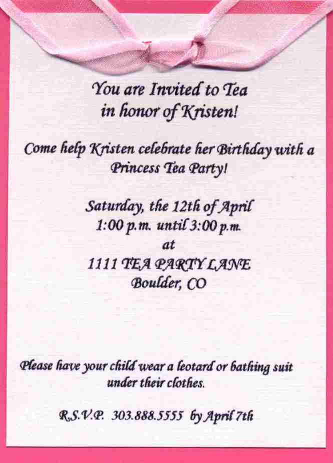 Birthday Party Invitation Wording Sample Event