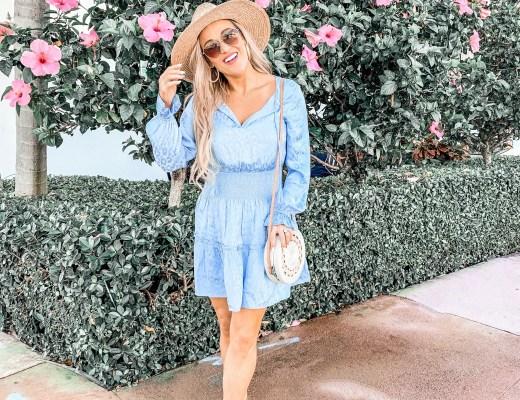 blue dress, flowers, spring dress