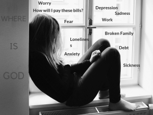 Woman sitting on window sill with words swirling around her (depression, sickness, debt, broken relationships, worry, fear)