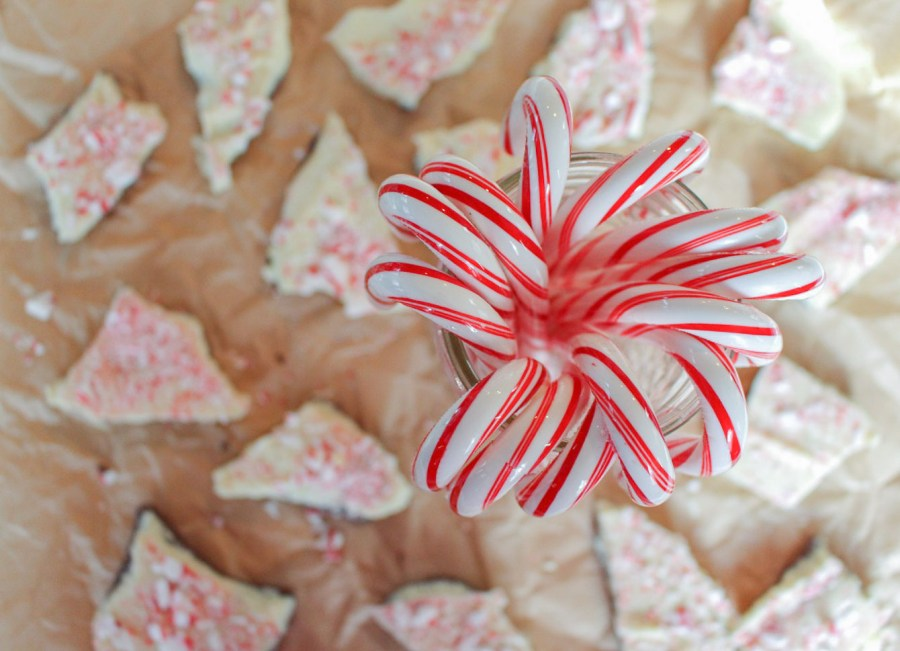 white chocolate peppermint bark with crushed candy canes