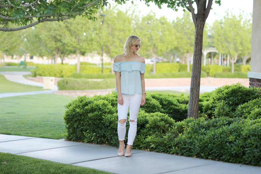 chambray off the shoulder top, spring trend, fashion blog, Treats and Trends, summer outfit idea