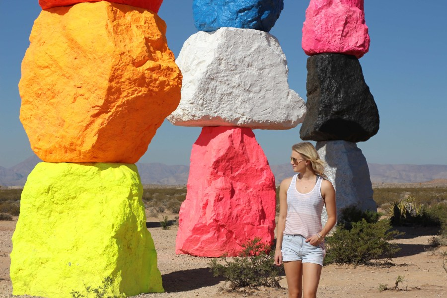 seven magic mountains, las vegas, travel, art, desert, instagram photo, road trip outfit, Treats and Trends, fashion blog