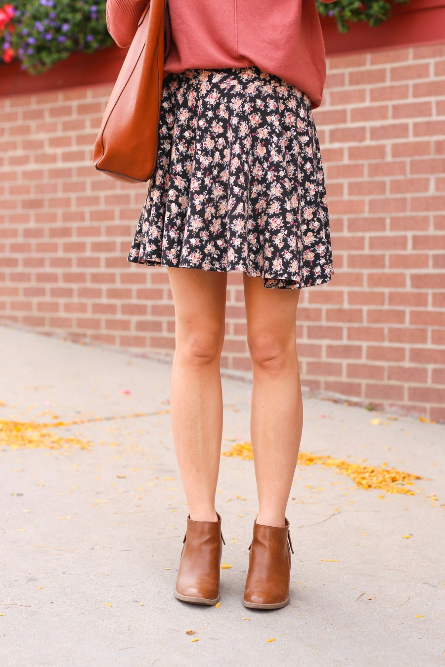 floral skirt, fall outfit, fashion blog, fall booties, women's fashion, Pinterest outfit