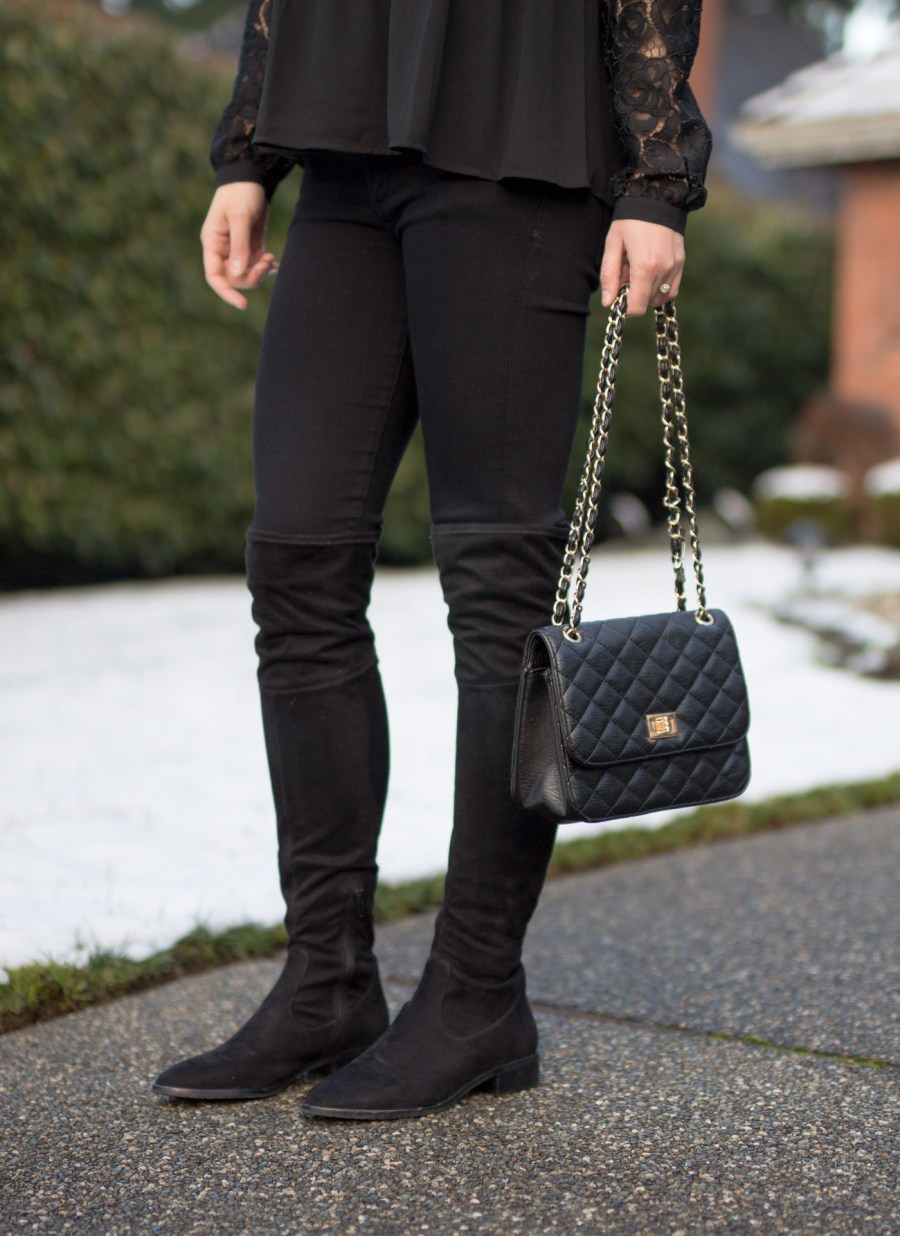 Tips For Wearing Black on Black, black on black outfit idea, monochrome outfit, fashion blog, Treats and Trends, winter outfit idea