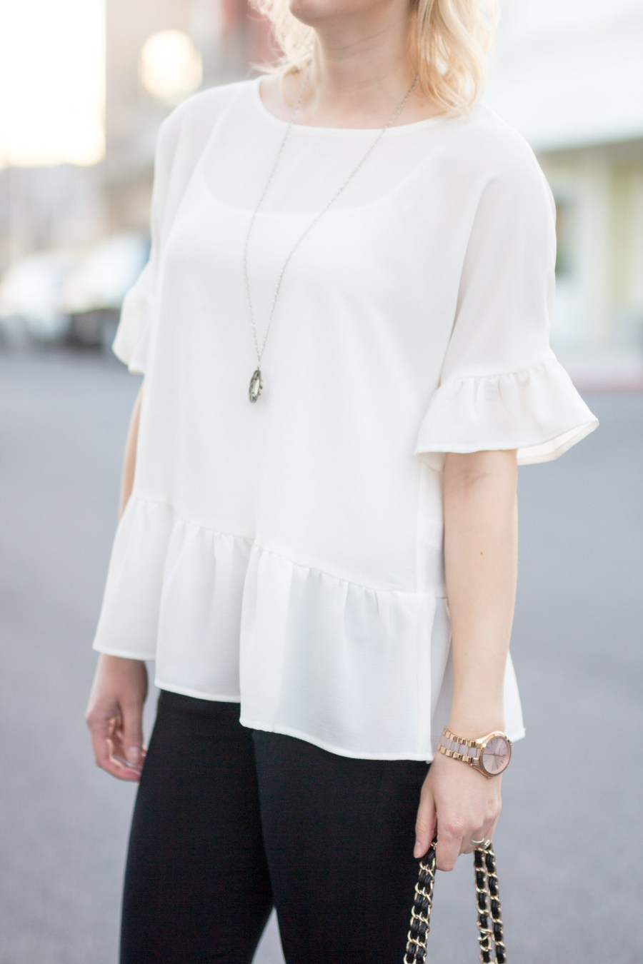 The Perfect White Ruffle Blouse Under $50, fashion blog, Treats and Trends, Nordstrom ruffle top, spring outfit idea, black and white outfit