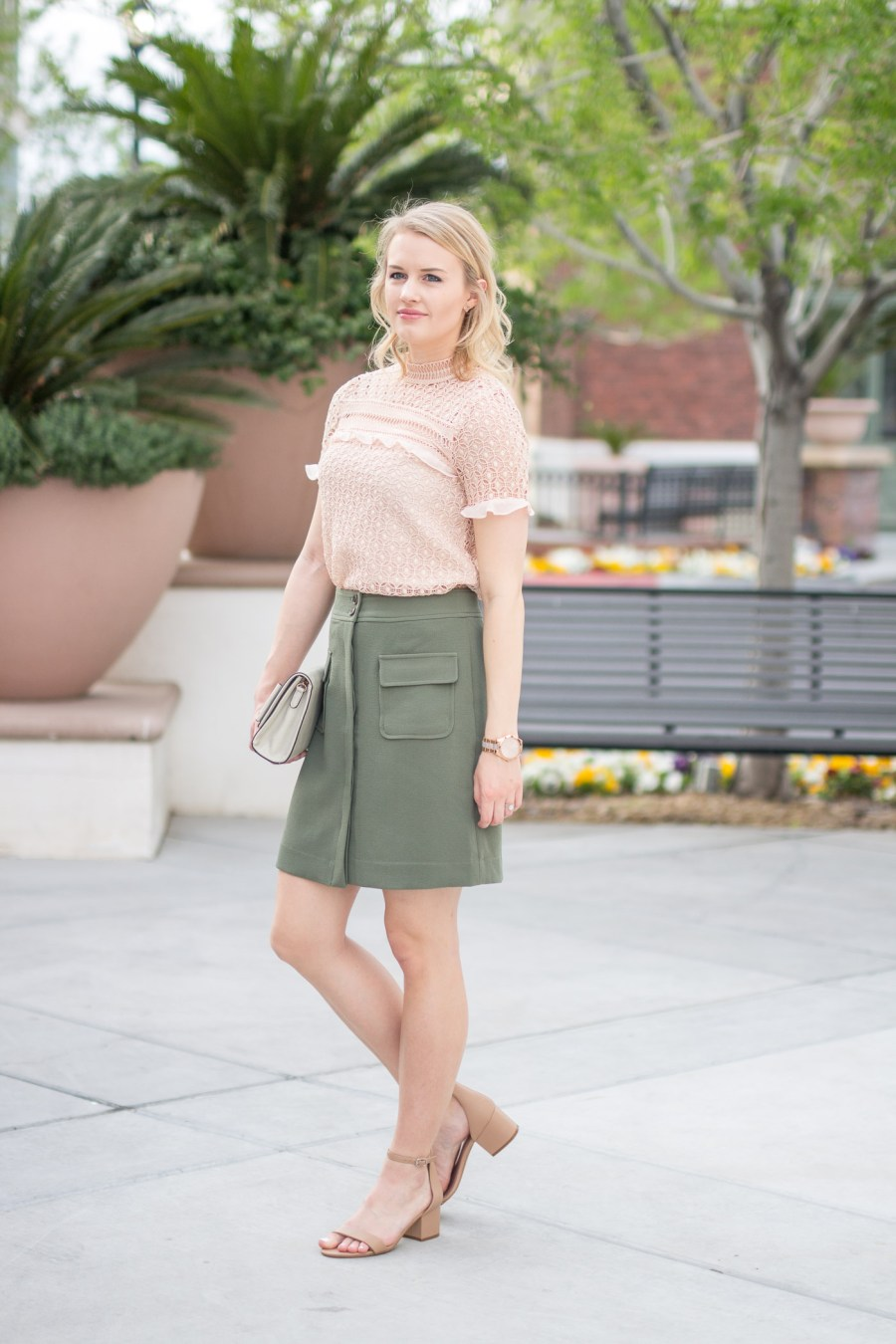 How To Wear Spring Trends To Work, fashion blog, Treats and Trends, Banana Republic skirt, military skirt, pink ruffle top, Zara