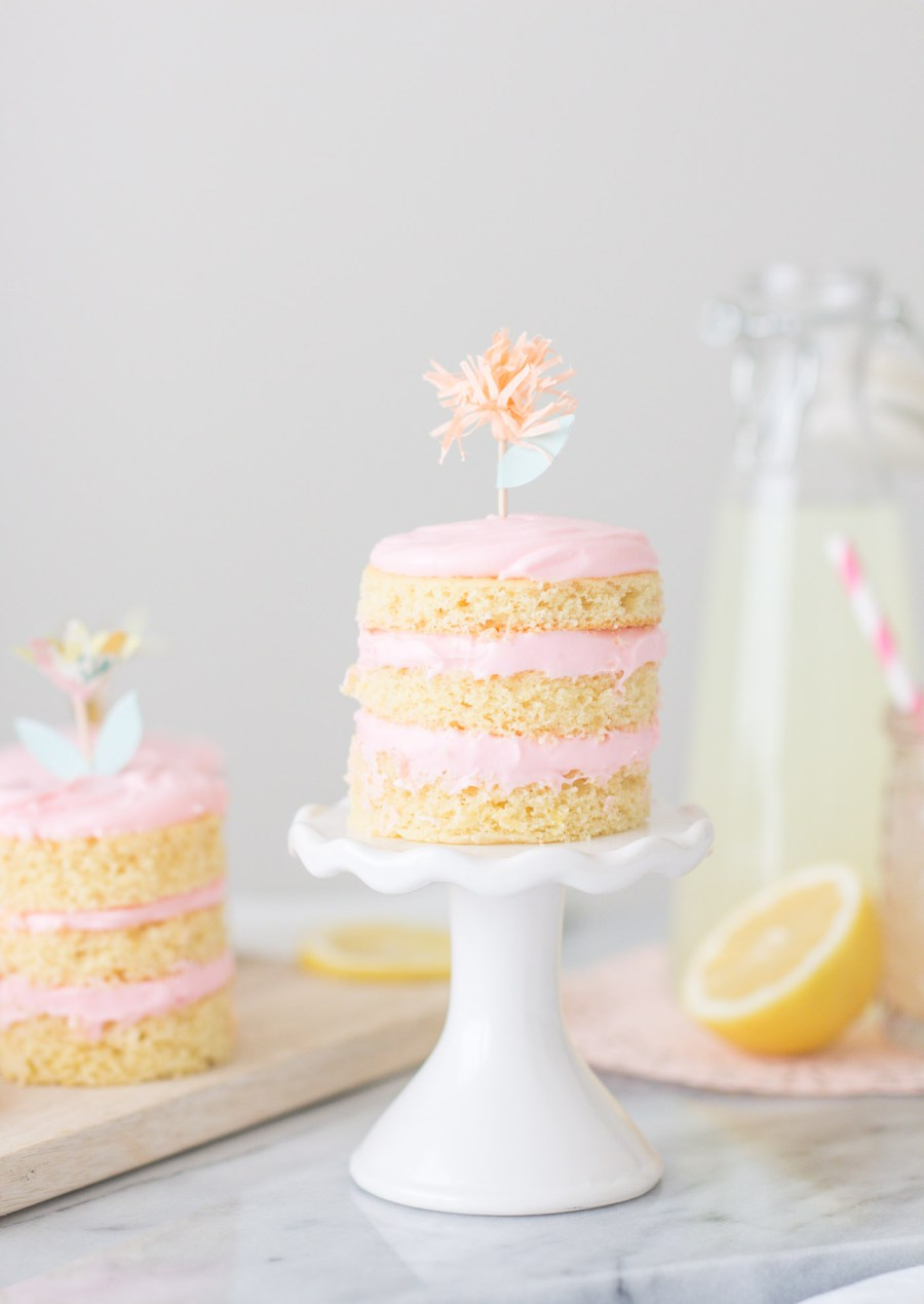 Mini Lemon Layer Cakes with Raspberry Cream Cheese Frosting, dessert recipe, food blog, Treats and Trends