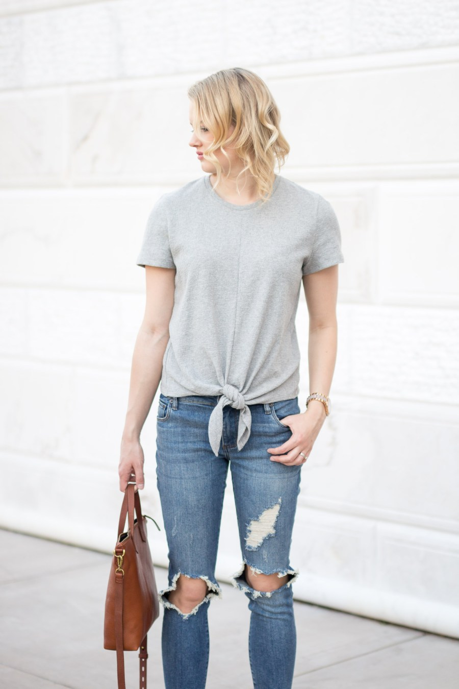 How To Style A Tie-Front Top, Madewell, spring outfit idea, fashion blog, Treats and Trends
