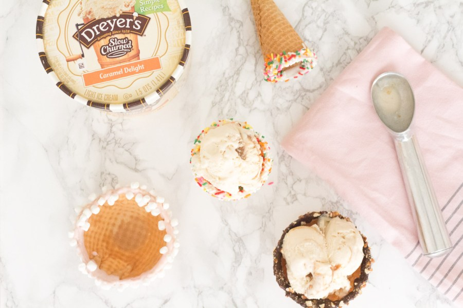 DIY Dipped Ice Cream Cones for a Summer Party, ice cream bar, Dreyer's ice cream, food blog, Treats and Trends