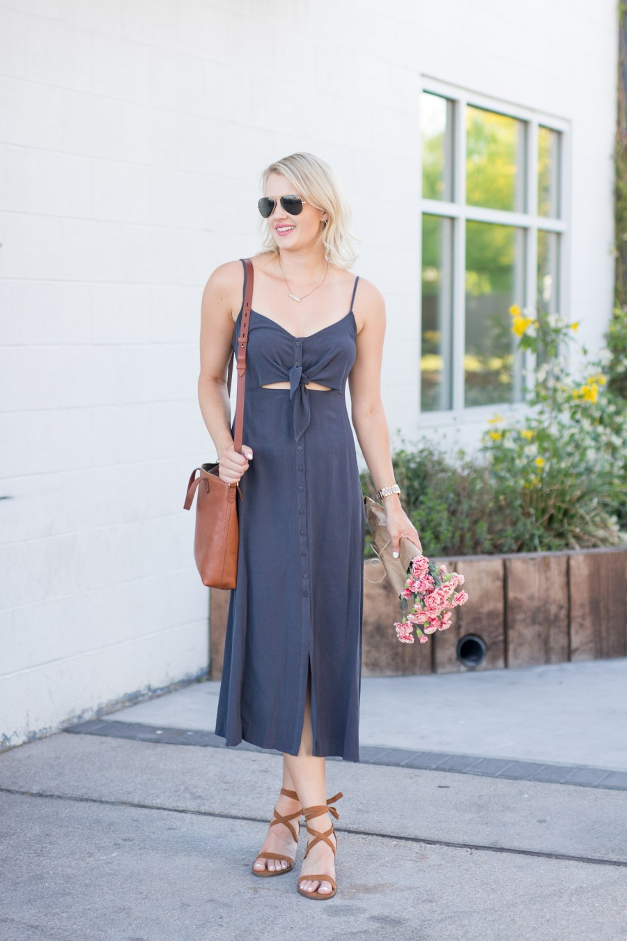 midi dress, topshop knot front slip dress, summer outfit idea, fashion blog, Treats and Trends