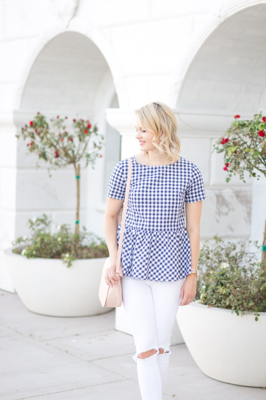 gingham top from SheIn, bow back, peplum, spring outfit idea, Treats and Trends, fashion blog