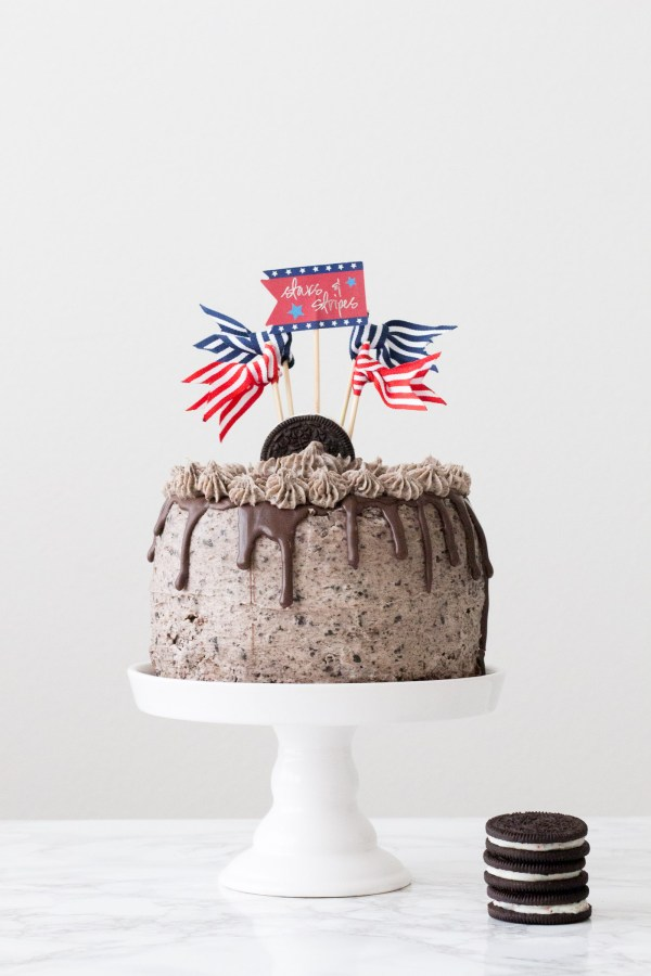 Cookies and Cream Cake, Firework Oreos, drip cake, 4th of July dessert