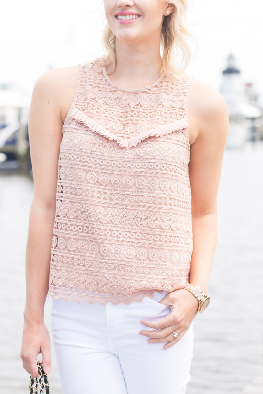 Packing Tips, summer outfit idea, blush lace tank
