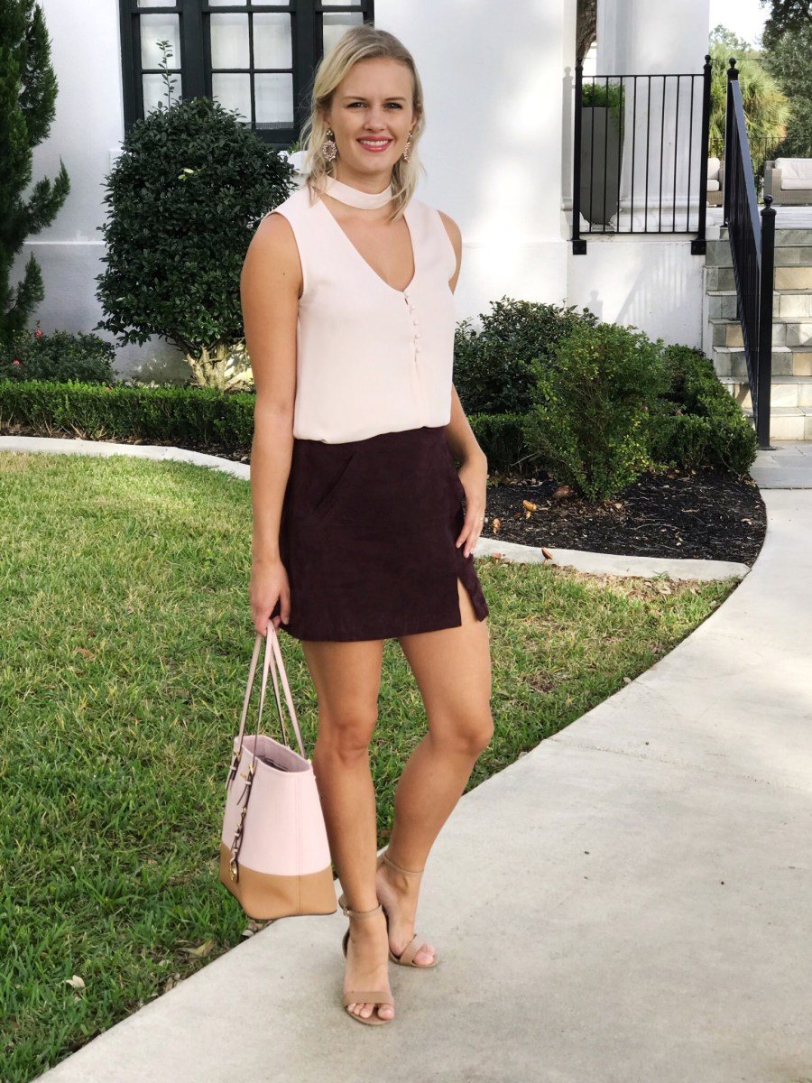 blush and burgundy fall outfit