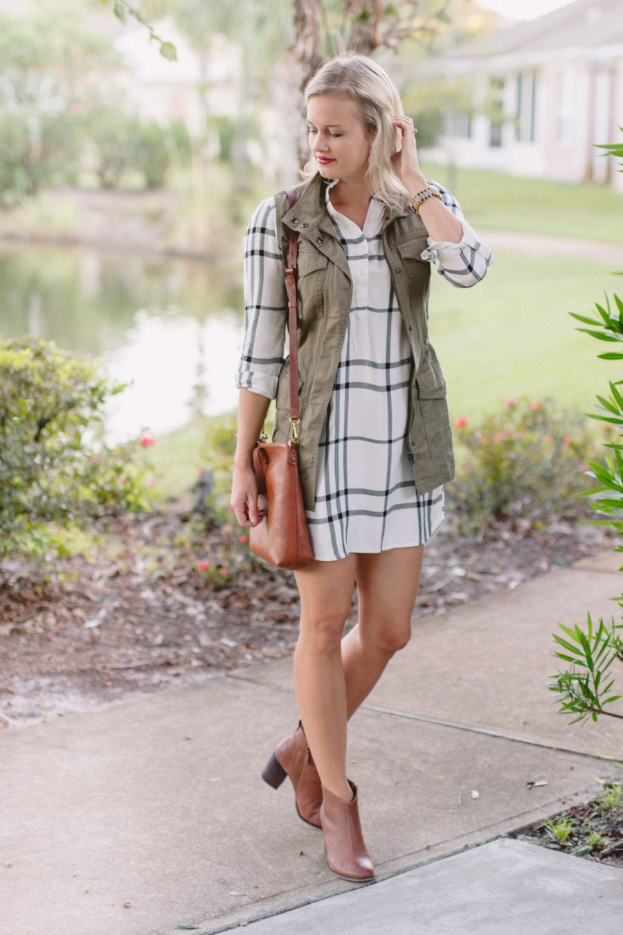 Plaid Old Navy shirtdress for fall