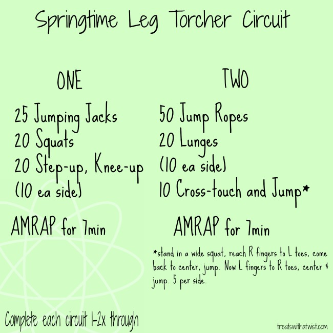 springtime leg torcher circuit workout // treatswithatwist.com