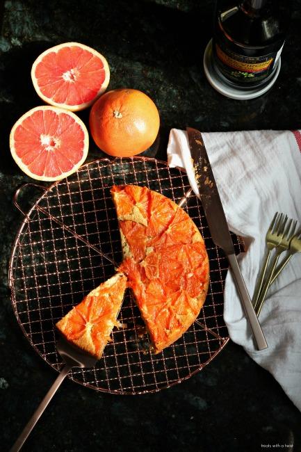 Grapefruit Upside Down Olive Oil Cake // gluten free // treatswithatwist.com